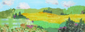 Canola Fields 16 x 40 in. Chigiri-e on canvas $1195