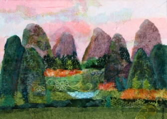 Colorful Guilin 22 x 30 in. plus frame chigiri-e $1495