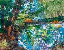 Coquitlam River Morn 16 x20 in. Chigiri-e sold