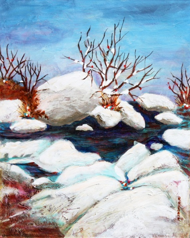 Rubble Creek 20 x 16 in. plus frame acrylic $400