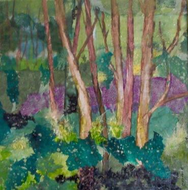 The Grove 24.5 x 25 in. plus frame Chigiri-e $1200