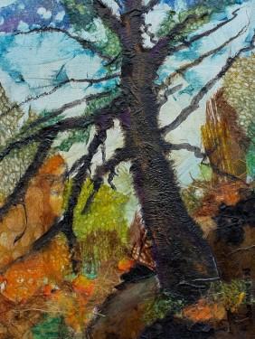 The Hobbit Tree 16 x 12 in. plus frame Chigiri-e $525